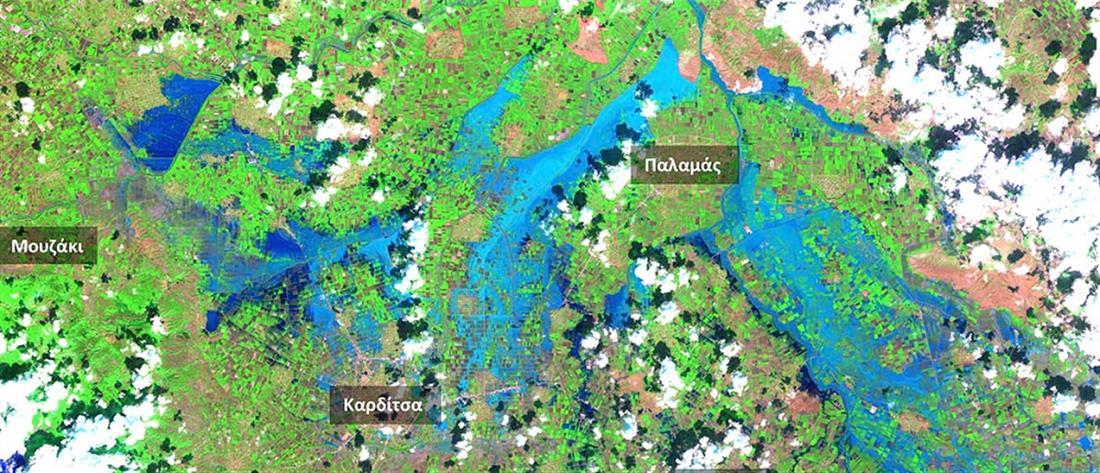 """""""Ιανός"""": πάνω από 210.000 στρέμματα κάτω από το νερό στον θεσσαλικό κάμπο"""