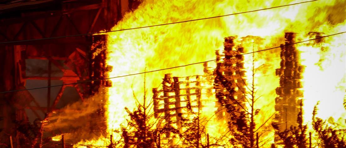 Στις φλόγες εργοστάσιο ξυλείας (εικόνες)