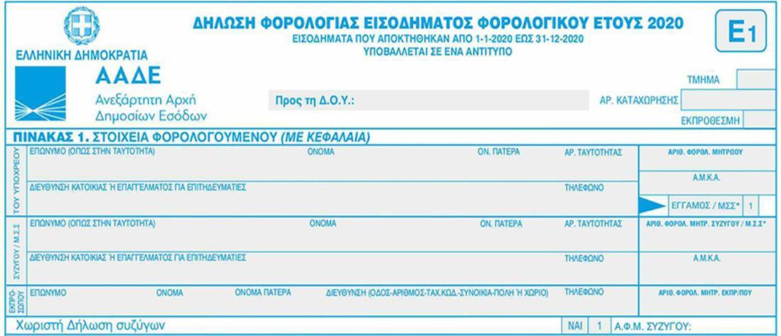 Φορολογικές δηλώσεις: Το νέο έντυπο Ε1 και οι νέοι κωδικοί - Όλες οι αλλαγές