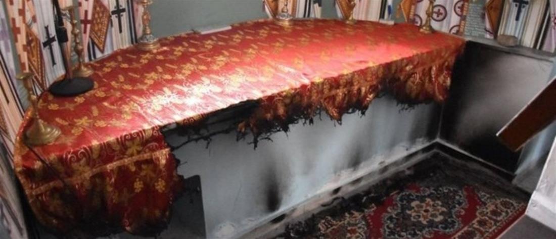 Ιερόσυλοι έβαλαν φωτιά και έκαψαν την Αγία Τράπεζα (εικόνες)