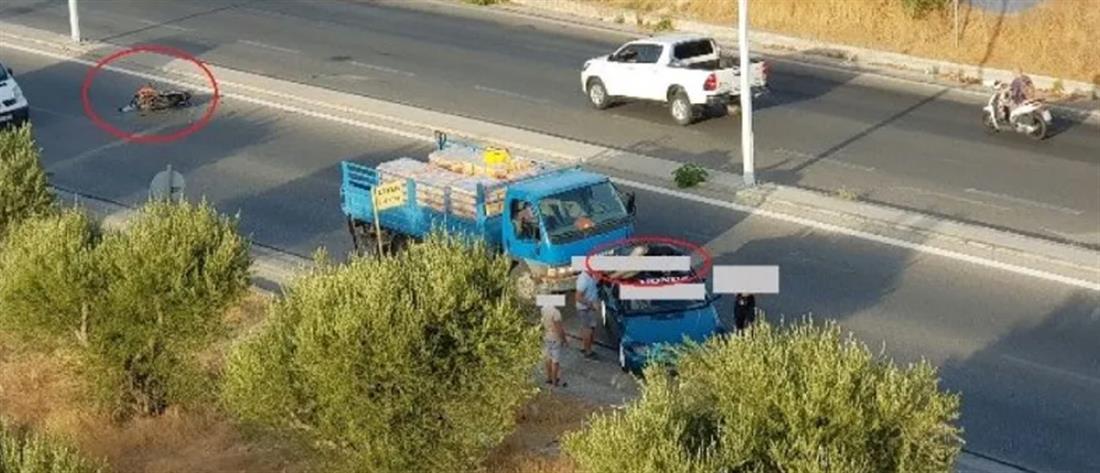 Ρόδος: Οδηγός μηχανής κατέληξε στην οροφή αυτοκινήτου