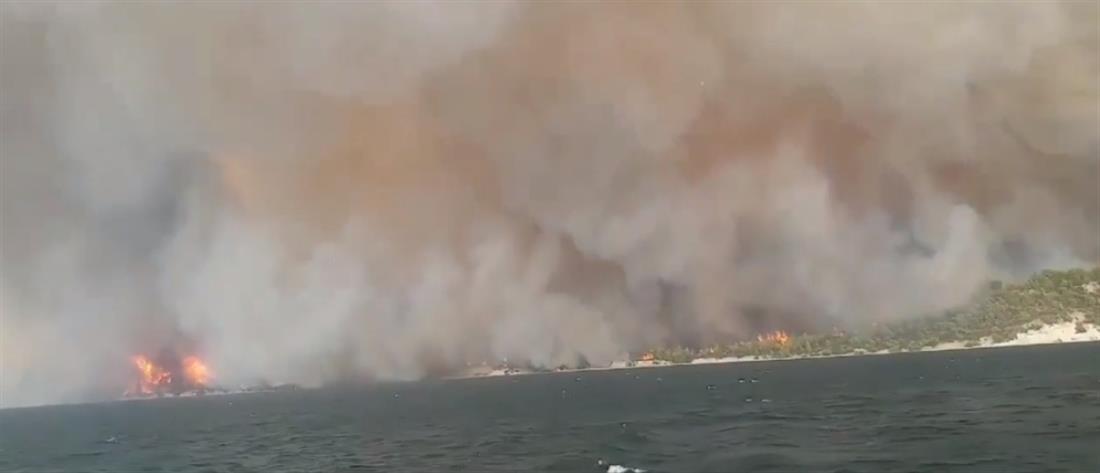 Φωτιά στην Εύβοια: απειλούνται Αγία Άννα και Αχλάδι (εικόνες)