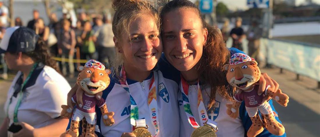 """Ολυμπιακοί Αγώνες Νέων: """"Χρυσές"""" στην κωπηλασία οι Μπούρμπου και Κυρίδου (εικόνες)"""