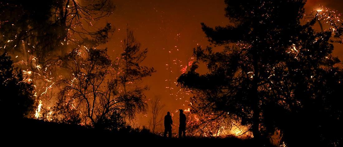 Ολονύχτια μάχη για το πύρινο μέτωπο της Εύβοιας