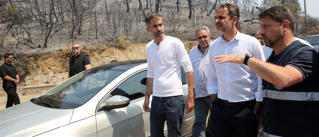 Στην Εύβοια ο Μητσοτάκης: Άμεσα η αποζημίωση των αγροτών για τη φωτιά