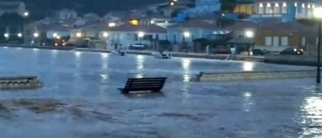 """""""Μπαλλός"""" – Ιθάκη: """"Βούλιαξε"""" το νησί από την έντονη βροχόπτωση"""