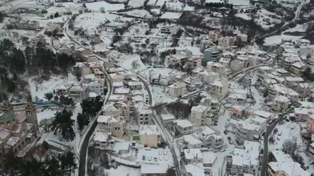 Η Κοζάνη στα λευκά, από ψηλά
