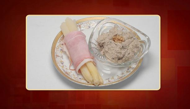 Σπαράγγια τυλιγμένα με φέτα καπνιστού χοιρινού και ντιπ μελιτζάνας της Κωνσταντίνας - Ορεκτικό - Επεισόδιο 46