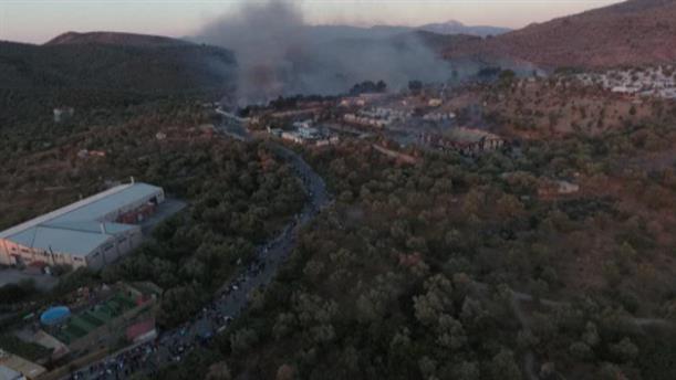 Εικόνες με τη φωτιά στη Μόρια από ψηλά