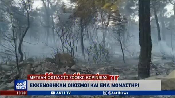 Φωτιά στο Σοφικό Κορινθίας: Εκκενώθηκαν οικισμοί και ένα μοναστήρι