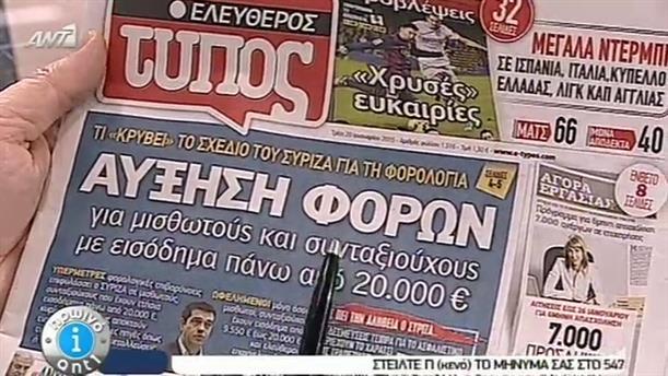 Εφημερίδες (20/01/2015)