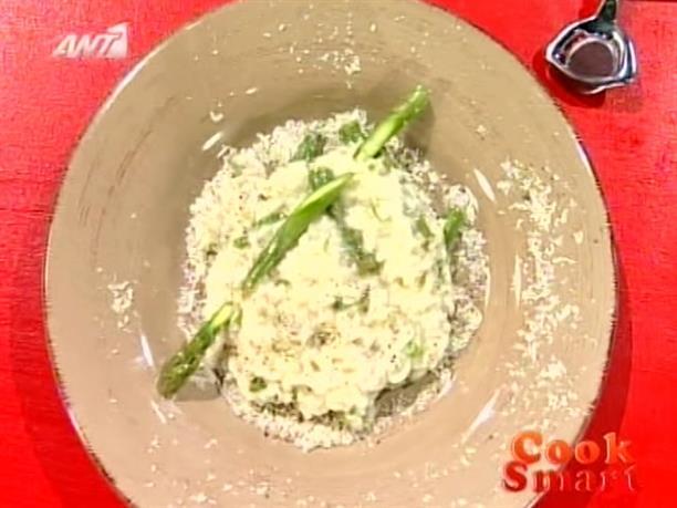 Ριζότο με σπαράγγια, ανθότυρο και λουίζα