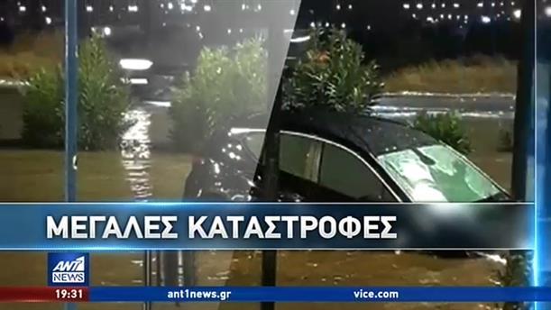 """""""Πνίγηκε"""" η Θεσσαλονίκη από την ισχυρή νεροποντή"""