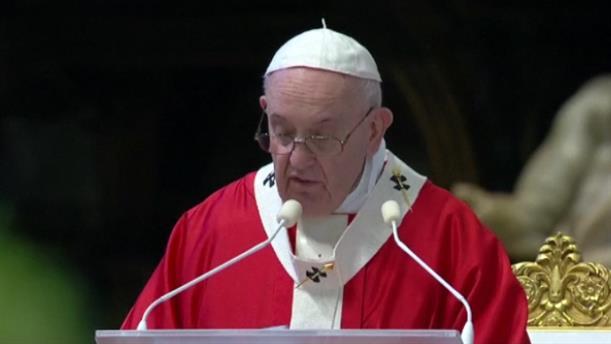O πάπας Φραγκίσκος τέλεσε τη λειτουργία της Κυριακής των Βαΐων στην άδεια Βασιλική του Αγίου Πέτρου
