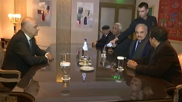 Συνάντηση Νίκου Δένδια με τον Χαλίφα Χαφτάρ