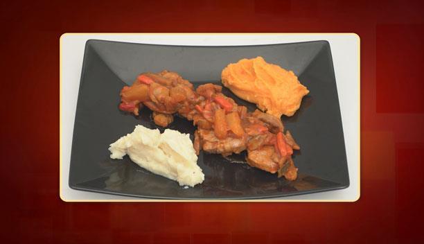 Ψαρονέφρι με γλυκόξινη σάλτσα με πουρέ πατάτας και καρότου του Δημήτρη - Κυρίως πιάτο - Επεισόδιο 63