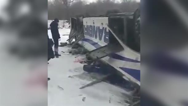 Τροχαίο δυστήχημα με ανατροπή λεωφορείου στη Ρωσία