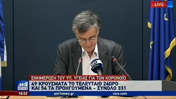 Στα 331 έφθασαν τα κρούσματα κορονοϊού στην Ελλάδα