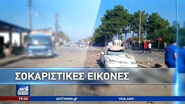 Σοκάρουν οι εικόνες της τριπλής σύγκρουσης οχημάτων