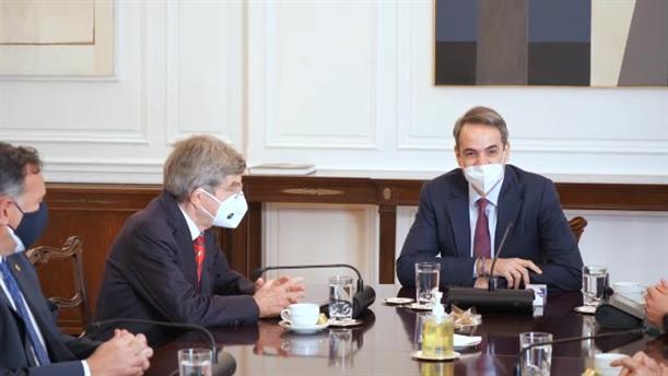 Συνάντηση Κυριάκου Μητσοτάκη με τον Πρόεδρο της ΔΟΕ Thomas Bach