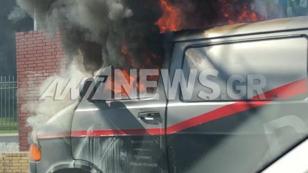 Βίντεο-ντοκουμέντο: αυτοκίνητο τυλίχθηκε στις φλόγες στην Λένορμαν