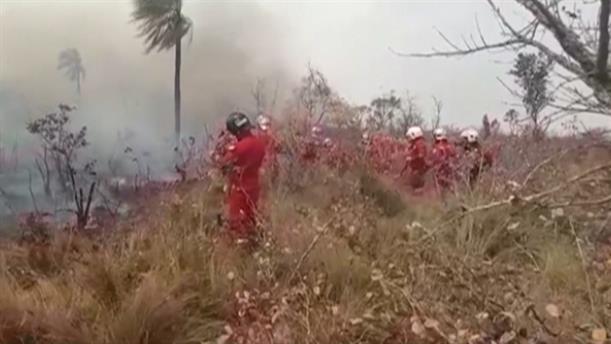 Αντίπαλος των πυροσβεστών ο χρόνος, για την κατάσβεση των πυρκαγιών στη Βολιβία