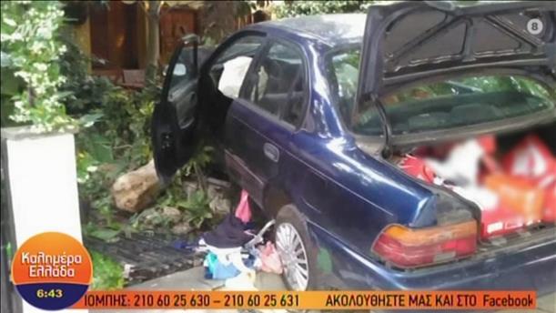 Αυτοκίνητο κλεφτών κατέληξε σε αυλή σπιτιού ύστερα από καταδίωξη
