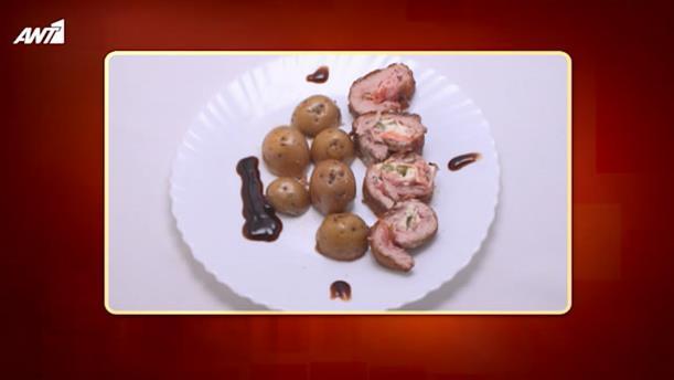 Ψαρονέφρι γεμιστό με μπέικον, Φιλαδέλφεια, πιπεριές και πατάτες φούρνου - Κυρίως Πιάτο - Επεισόδιο 4