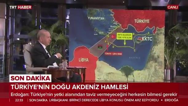 Ο Ερντογάν σε τηλεοπτικό σόου με χάρτες της Μεσογείου