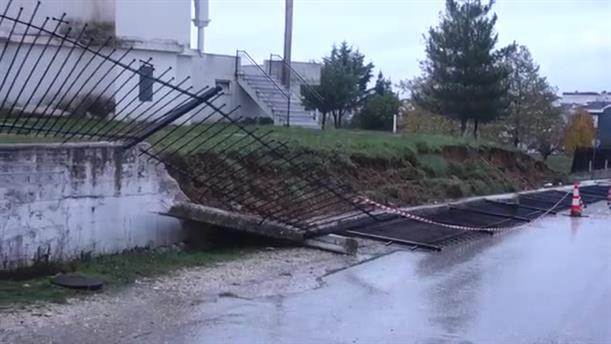 Ζημιά στον περίβολο του Ι.Ν. Αγίας Σοφίας στα Ιωάννινα από τις βροχοπτώσεις