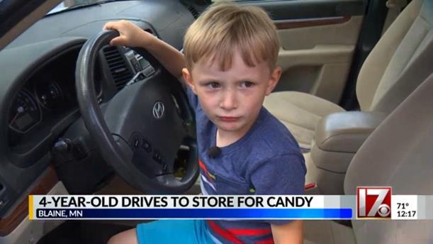 4χρονος οδήγησε μέχρι το βενζινάδικο για να πάρει σοκολάτες