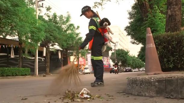 Καθαρίστρια δουλεύει χωρίς να αποχωρίζεται τον σκύλο της