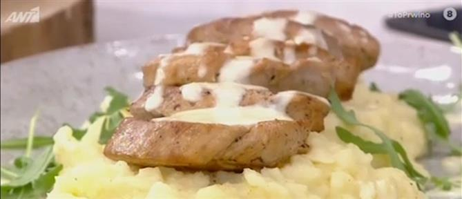 Συνταγή για ψαρονέφρι με πουρέ και σάλτσα παρμεζάνας