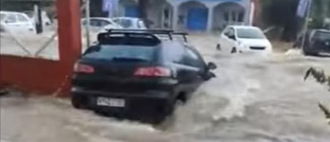 """""""Μπάλλος"""" - Κέρκυρα: Ορμητικός χείμαρρος παρασύρει αυτοκίνητο (βίντεο)"""