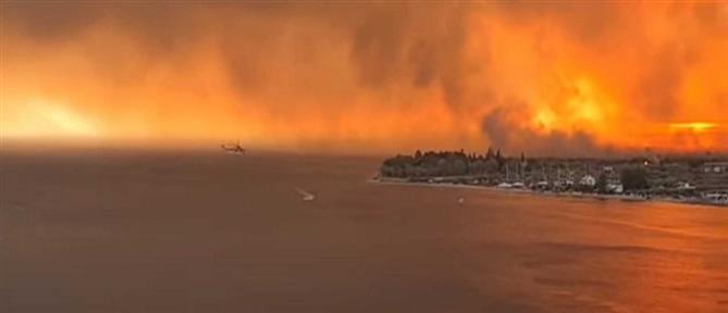 Εύβοια: Ανεξέλεγκτη η φωτιά, καίγονται σπίτια (εικόνες)