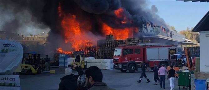Μεγάλη φωτιά σε αποθήκη μεταφορικής εταιρείας (εικόνες)