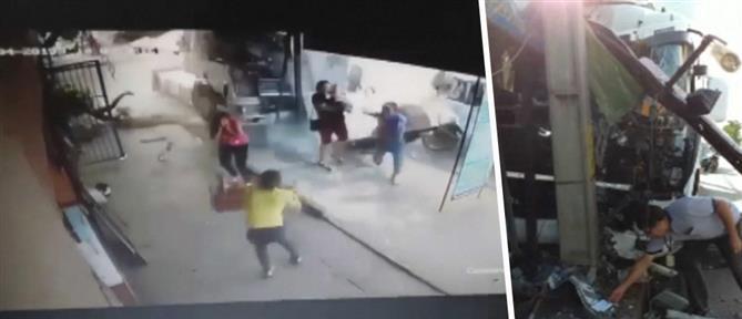 """Φορτηγό """"μπουκάρει"""" σε κατάστημα (βίντεο)"""