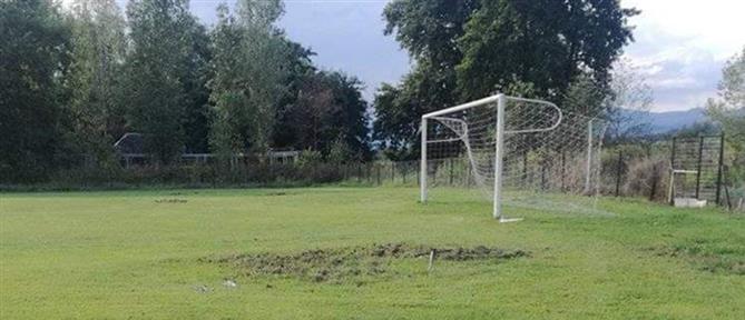 """Φθιώτιδα: Αγριογούρουνα """"όργωσαν"""" γήπεδο (εικόνες)"""
