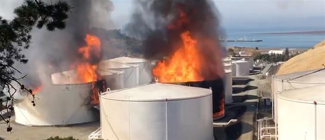 Φωτιά σε δεξαμενές καυσίμων στην Καλιφόρνια (βίντεο)