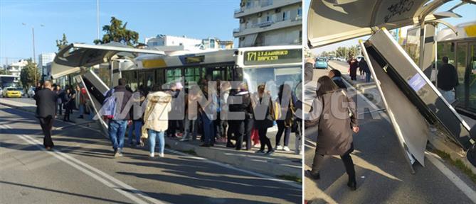 Λεωφορείο έπεσε σε στάση στη Γλυφάδα (εικόνες)