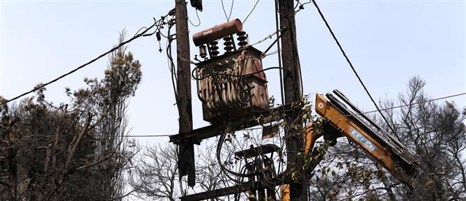 Φωτιά στη Βαρυμπόμπη - ΔΕΔΔΗΕ:  Ολική καταστροφή γραμμής που ηλεκτροδοτεί 6000 καταναλωτές