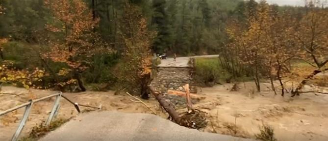 Κατέρρευσε γέφυρα στην Εύβοια (βίντεο)