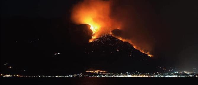 Μάχη με τις φλόγες στο Λουτράκι