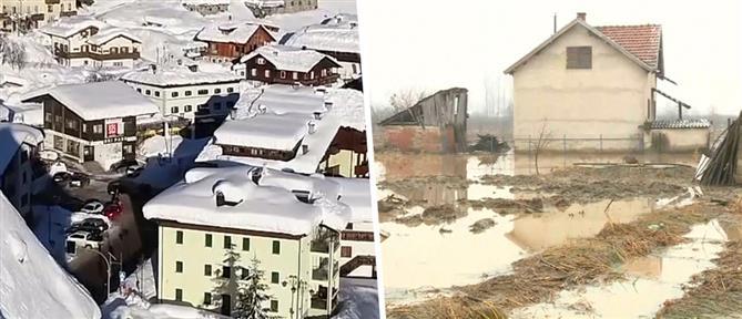 Χιόνια και πλημμύρες σε Ιταλία και Σερβία (εικόνες)