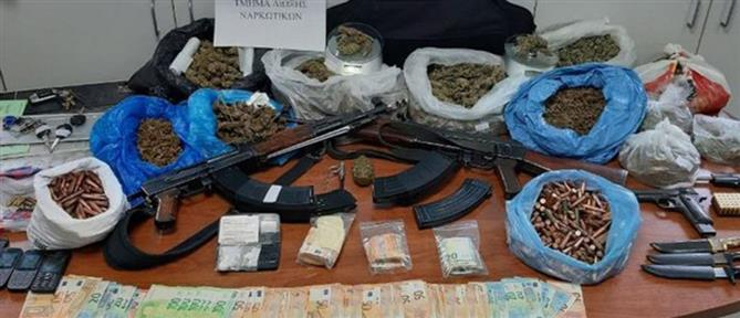 """Είχαν """"καβατζώσει"""" όπλα και ναρκωτικά στο βουνό (εικόνες)"""